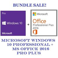 Microsoft Windows 10 Professional + MS Office Professional Plus 2016 32/64 Bit