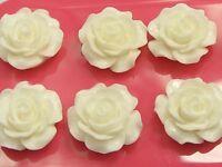 "20 Ivory Cabochons Rose Flower Flatback Resin 20mm(3/4"") DIY Embellishments"