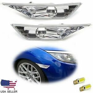FOR 2016-2020 HONDA CIVIC CLEAR SIDE MARKER LAMP TURN SIGNAL LIGHT W/ LED BULBS