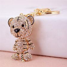 Crystal Korea Fashion Cute Keychain Pendant Car Key Ring Tiger Rhinestone Key