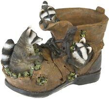 Garten Deko Figur Schuh Stiefel Blumentopf mit Waschbären Übertopf Pflanzgefäß