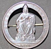 BROSCHE SIEGESTALER  Sieges Thaler 1871 Wilhelm I 1861 bis 1888 Silber