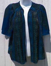 Size PS Petite Small Jacket Peacock Blue Print Velvet Shrug Simply Irresistible