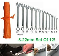 12pc Set Forged Steel Spanners Open Ended + Closed Ring Wrench Combination Tools