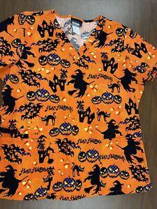 Cherokee Halloween Scrub top XL Haunted House Bat Witch Black Cat