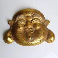 Masque  Bouddah rieur  en  bois doré wooden mask buddah gold