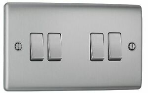 BG Nexus Metal Brushed Steel Chrome Quad Light Switch – 4 Gang 2 Way NBS44 10A