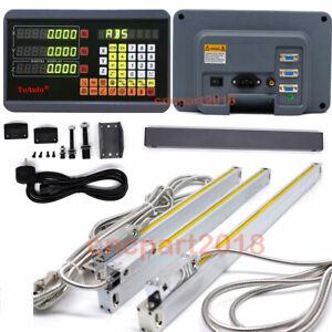 2/3Axis Digital Readout Kit DRO Display 5µm Linear Scale Sensor Mill Lathe