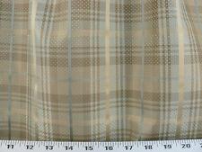 Drapery Upholstery Fabric 100% Silk Plaid w/ Tiny Woven Dots - Gray-Blue
