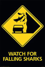 WATCH FOR FALLING SHARKS - SIGN POSTER - 24x36 SHRINK WRAPPED - TORNADO 241267