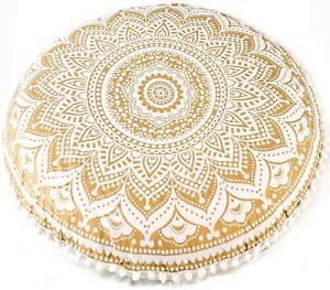 "Handmade Golden Flower Cotton Large Mandala Round Floor Cushion Cover 32"" Inch"