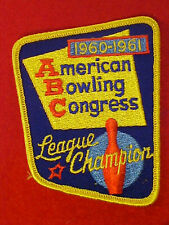 VINTAGE 1960-1961 American Bowling Congress Patch Mint Unused New Old Stock NR!