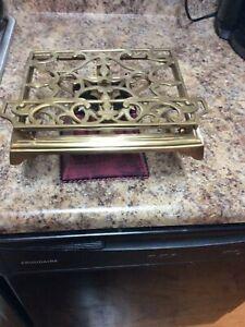 Vintage Brass Bible Book Stand Folding Cook Book Holder Adjustable Tabletop;used