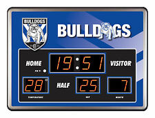 CANTERBURY BULLDOGS NRL Rugby SCOREBOARD LED Glass Clock Date temp Bar Man Cave