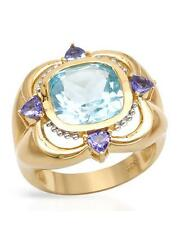Cocktail Ring Tanzanites & Topaz 2-tone 14K/925 7.8gr Gold plated Silver size 7
