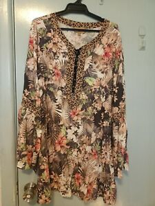 Kachel animal print and floral dress in size M