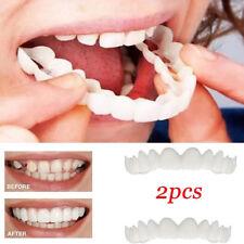 2Pcs Unisex Snap On Smile Comfort Fit Flex Fake Teeth Top Veneer Denture Pretty