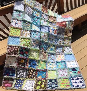 Rag quilt I spy throw Neutral 70 interesting prints flannel  handmade USA #47n