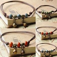 Retro Bell Charm Women Ankle Bracelet Ceramic Beads Weave Rope Foot Chain Anklet