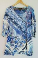 Style & Co. Women's XL Long Length Tunic 3/4 Sleeve with Bling Peacock Feather