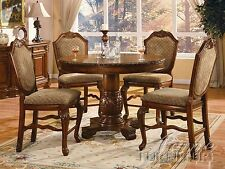 NEW DEVILLE 5PC BROWN CHERRY FINISH WOOD ROUND COUNTER PEDESTAL DINING TABLE SET