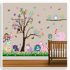 Owl Animal Wall Stickers Monkey Jungle Zoo Tree Nursery Baby Kids Room Decal Art