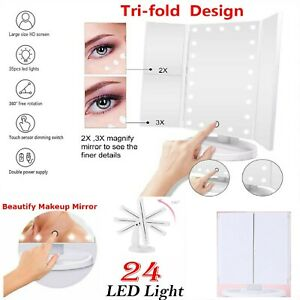 24 LED VANITY MIRROR MAKEUP LIGHT COSMETIC DRESSING TABLE TRIFOLD MAGNIFYING