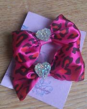 2 x Hand -made pink animal print bow hair clips -