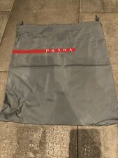 Authentic Gray & Red Stripe Prada Sport Drawstring Storage Bag / Shoe / Handbag