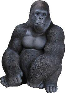 Vivid Arts Large Real Life Sitting Gorilla Resin Ornament | XRL-GRLS-A