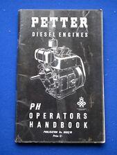 Petter Diesel Engines - PH Operators Handbook  8002/10    Jan 1969