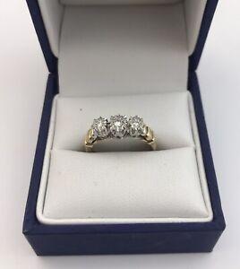 Vintage 9ct Gold & Diamond Trilogy Ring.   Size K