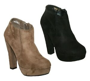 LADIES FAUX SUEDE CHUNKY HEEL PLATFORM BOOTIE SHOE BOOT BLACK TAUPE SIZES 4 - 8