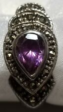 Vintage Teardrop Amethyst & Marcasite Ring, Approx Size is 8-8 1/2, 925 Silver