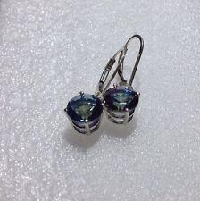 925 Sterling Silver Round Cut Mystic Blue Topaz Dangle Lever Back Earrings 3.75