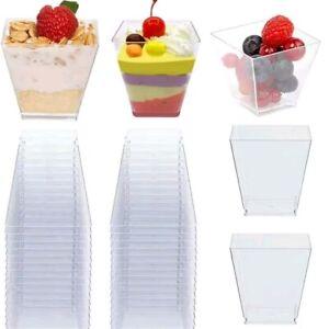 10~30pcs Plastic 2oz Mini Square Dessert Cube Clear Mousse Cups Birthday Party