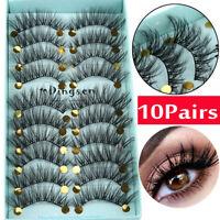 DINGSEN 10 Pairs 3D False Eyelashes Wispy Fluffy Natural Long Lashes Handmade*an