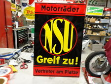 VINTAGE NSU DEALER EMBOSSED SIGN MOTORCYCLE AUTO  EC0079