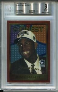1995 Finest Basketball #115 Kevin Garnett Rookie Card RC Graded BGS MINT 9