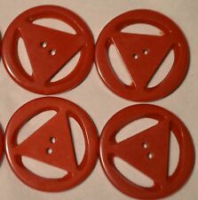 """8 LARGE RED OVAL 1 5//16/""""  X 1/"""" CASEIN SEW THRU BUTTON NOS QUANTITY DISCOUNT"""
