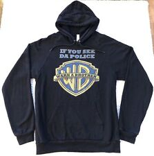 If You See Da Police Warn A Brother WB Black Hoodie Jacket Sweatshirt Mens M
