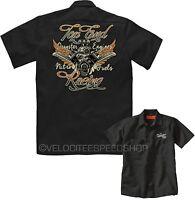 Velocitee Mens Mechanic Garage Work Shirt Top End Dragster Hot Rat Rod W17042