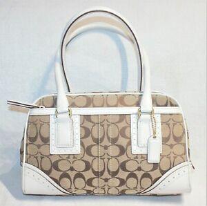 RRP$468 COACH Canvas+Leather Designer Tote Bag/Handbag/Hampton Signature Purse