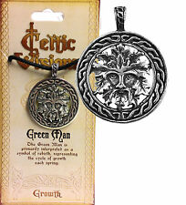 GREENMAN Celtic Wicca Nature Trees Rebirth Silver Tone  Pewter Amulet Pendant