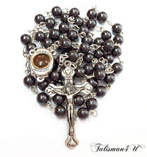 Hematite Rosary Beads Necklace Blessed in Holy Sepulchre with Holy Soil & Cross