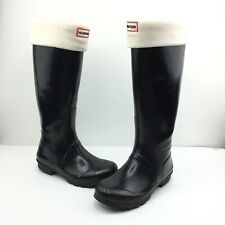 Womens Hunter Rain Boots Size 6 Black With Sock Liners