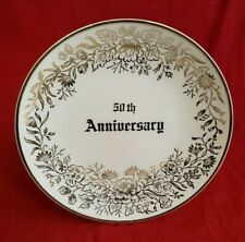 Pearl China 50th Golden Anniversary Plate Hand Decor 22 Kt Gold Marriage Gl10