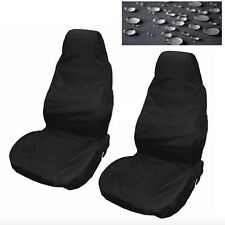 Car Seat Covers Waterproof Nylon Front 2 Protectors Plain Black fits Alfa Romeo