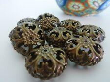 10 pce Antique Bronze Metal Ornate Filigree Rondelle Beads 23mm x 13mm