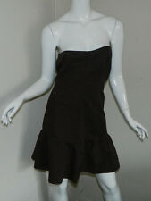 Women Sisley Solid Brown Dress Casual Sleeveless Size S Italy